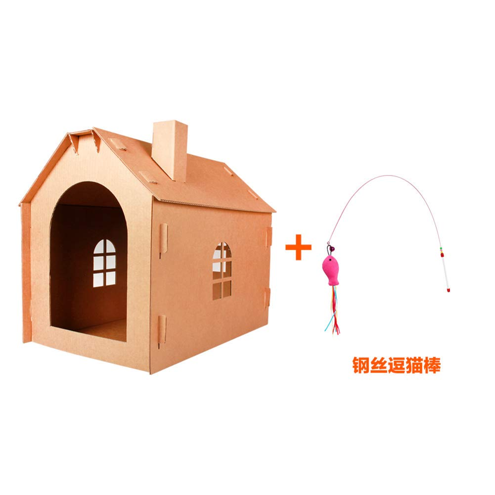 P Cat Toy Corrugated Paper cat Scratch Board House Ball R 40x12cm(16x5inch)
