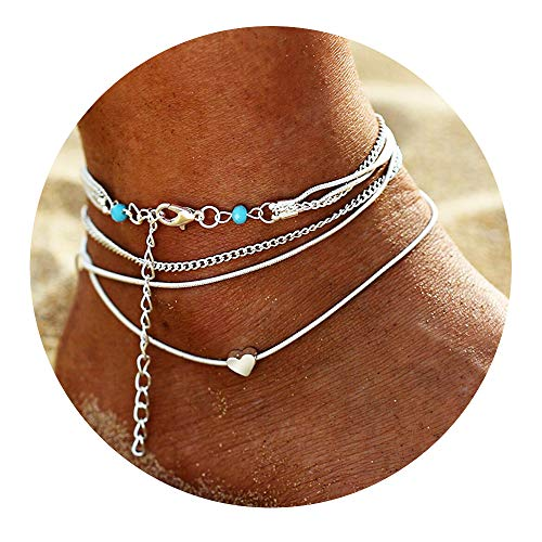FineMe Starfish Turtle Anklets Multiple Layered Boho Gold Chain Anklet Heart Beach Rhinestones Silver Turquoise Stone Charm Anklet