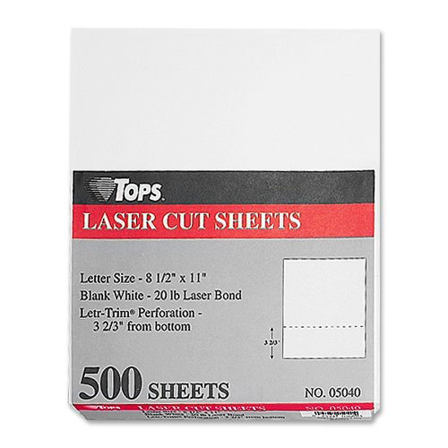 TOPS Laser Cut Sheet Paper, Perforated 3-2/3 Inches from Bottom, 8.5 x 11 Inches, 20 Pound, 500 Sheets, White (05040)