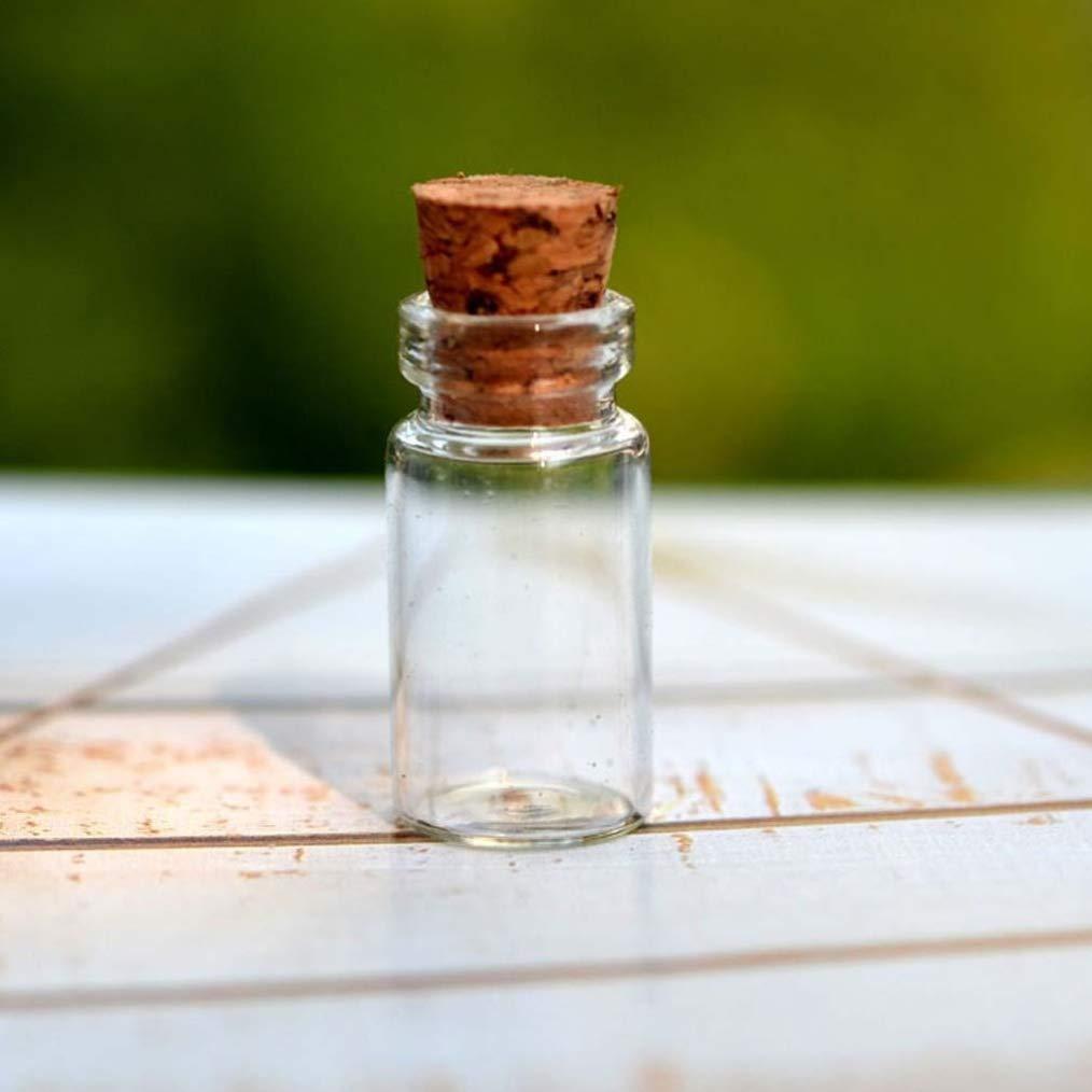 IMIKEYA 25pcs Mini Botellas de Vidrio Deseadas Frascos de Vidrio Transparente con Tapones de Corcho Botellas de Deseo de Bricolaje para Bodas de Mensaje Favores de Fiesta 18X40 Mm