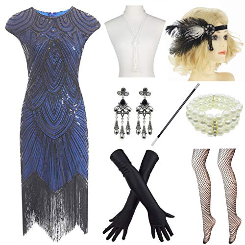 Women 1920s Vintage Flapper Fringe Beaded Gatsby Party Dress with 20s Accessories Set Black Blue ()