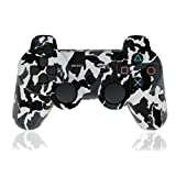 XFUNY Wireless Bluetooth Six Axis Dualshock Game Controller for Sony PlayStation 3, Black-White Camouflage