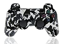 XFUNY Wireless Bluetooth Six Axis Dualshock Game Controller for PlayStation 3, Black-White Camouflage
