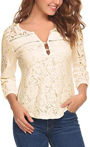 Zeagoo Women Casual Tops V-Neck 3/4 Sleeve Floral Lace Button Blouse Tops