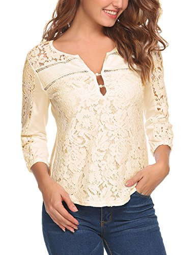Cream Blouse Top (Zeagoo Women Casual Tops V-Neck 3/4 Sleeve Floral Lace Button Blouse Tops,Medium,Cream)