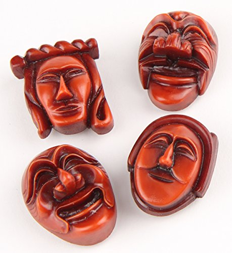 4 Pcs Korean Traditional Hahoe Mask Fridge Refrigerator Magnets 1.6