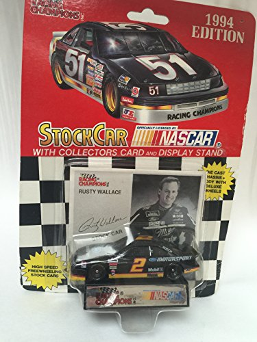 RACING CHAMPIONS 1994 EDITION #2 NASCAR RUSTY WALLACE 1:64 SCALE WITH CARD - Rusty Wallace Nascar Card