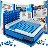 Daily Delux New Generation English Version Capsule Holder with Improved Tamper, 100 Holes Tray for Capsules, Filling Tools (Blue #00)