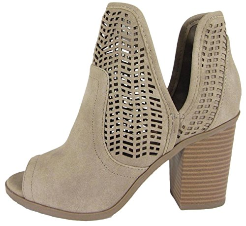 SODA Women's Laser Cut Side V Cutout Open Toe Stacked Chunky Heel Bootie (9 B(M) US, Light Taupe IMSU)