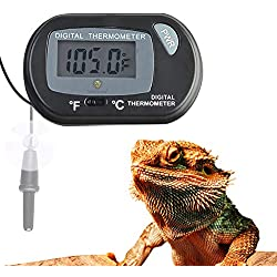 SunGrow Digital Thermometer, 2.3-inches by 1.5-inches, for Aquarium or Reptile Habitat, Monitoring Tank Temperature, with Waterproof Sensor Probe, Includes Replaceable Batteries and Suction Cups