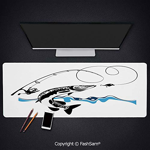 - Desk Gaming Mouse Pad Non-Slip Big Pike Fish Catching Wobblers Reel Trap in River Raptorial Predator Print Keyboard Pad for Office Desktop(W35.4xL15.7)