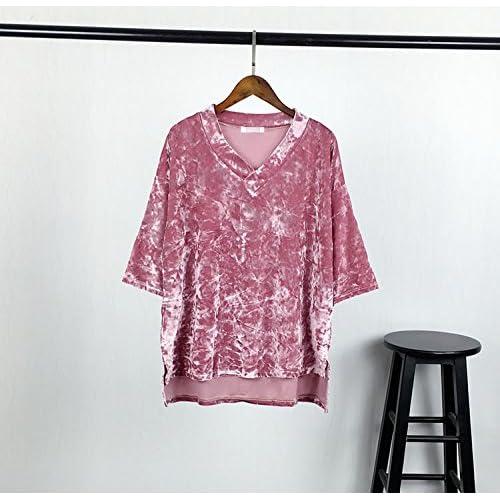 Xmy Meuble rétro fine vidéo V-cou à manches courtes T-shirt femme sauvage au printemps et en été la moitié de la laine à manches longues sont de type code