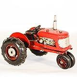 EliteTreasures Retro Red Metal Farm Tractor FIgurine - Vintage Style Vehicle Ornament - Farmhouse Miniature Figure - Farm Tractor Decorative Collectible