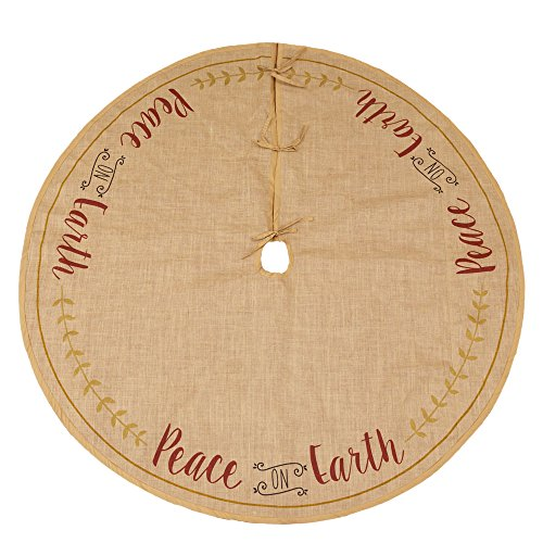Peace on Earth Laurel Country Chic 60 Inch Burlap Christmas Tree Skirt