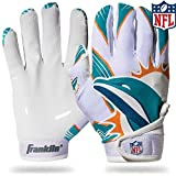 Franklin Sports Miami Dolphins Youth NFL Football Receiver Gloves – Receiver Gloves For Kids – NFL Team Logos and Silicone Palm – Youth M/L Pair