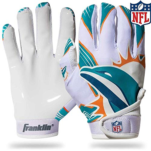 Franklin Sports NFL Miami Dolphins Youth Football Receiver Gloves - Medium/Large