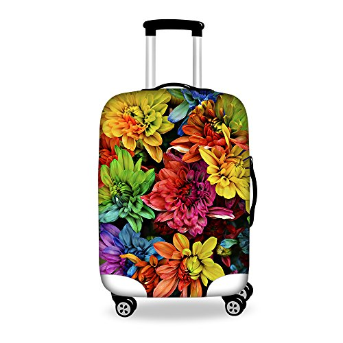 FOR U DESIGNS 22-26 Inch Middle Colorful Floral Print Spandex Luggage Case Cover