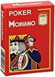 Modiano Italian Poker Game Playing Cards - RED Poker - Large 4 Index - Single Card Deck - 100% Plastic Made in Italy