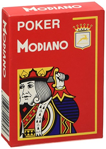 - Modiano Cristallo 482 - Poker Playing Cards, Index 4, Red