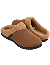 Snug Leaves Men's Cozy Memory Foam Slippers Wool-Like Plush Fleece Lined House Shoes w/Indoor Outdoor Rubber Sole
