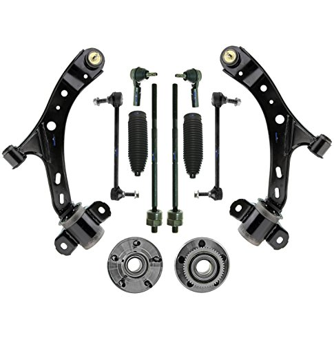 PartsW 12 Pc Front Suspension Kit for Ford Mustang 4-Wheel ABS Lower Control Arms & Ball Joints, Outer & Inner Tie Rod, Sway Bars
