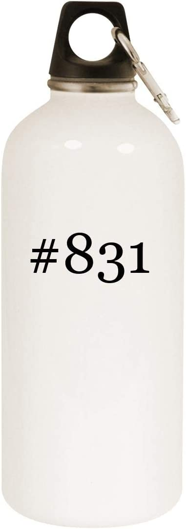 #831-20oz Hashtag Stainless Steel White Water Bottle with Carabiner, White 51gwZnG6bpL