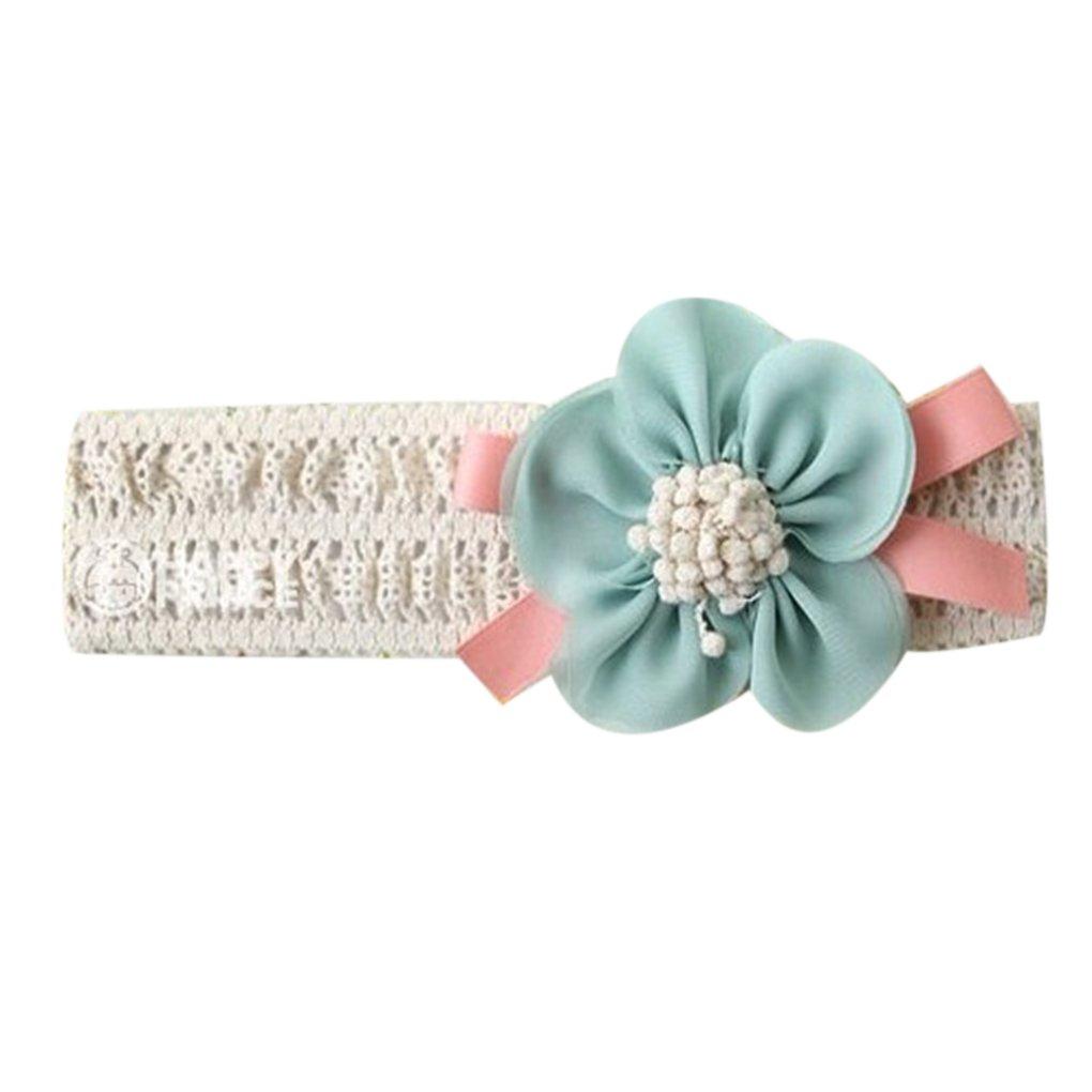 QHGstore Baby-Stretchy Stirnband-große Blumen-Spitze-Baby-Haar-Band-Haar-Zusätze rosa