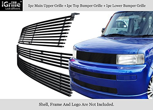 APS Fits 2003-2007 Scion XB 304 Stainless Steel Black Billet Grille Combo - Scion Grill Xb Front