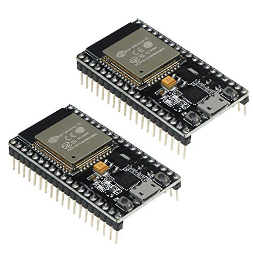 KeeYees ESP32 ESP-32S Development Board 2.4 GHz Dual Core WLAN WiFi + Bluetooth 2-in-1 Microcontroller ESP-WROOM-32 Chip for Arduino (2PCS) ()