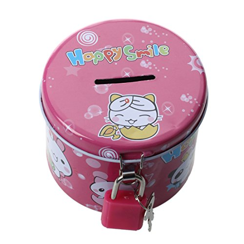 SODIAL(R) Cylinder Design Cartoon Print Piggy Bank Coin Money Saving Box with - Tiffany Padlock