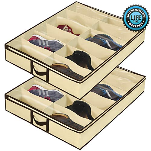 Ziz Home Under Bed Shoe Organizer for Kids and Adults - 12 Pairs - (2 Pack) - Underbed Shoes Closet Storage Solution - Made of Breathable Materials with Front Zippered Closure - Easy to Assemble