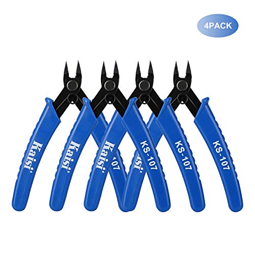 Kaisi KS-107 Wire Flush Cutter Internal Spring 5 Inch Precision Electronic Micro Shear Wire Cutters Wire Cutting Pliers Side Cutters Pliers, Blue - 4 Pack
