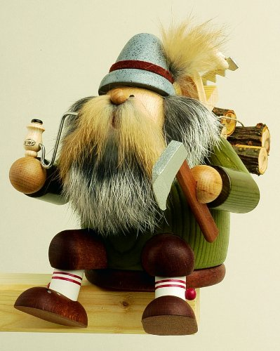 KWO Sitting Lumberjack German Christmas Incense Smoker Handcrafted in Germany by Pinnacle Peak Trading Company