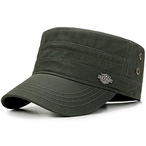 Yooeen Men's Cotton Army Cap Cadet Military Hat Adjustable Baseball Caps Classic Flat Top Hats Outdoor Sports Green