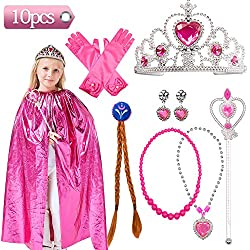 Princess Dress Up Costume Accessories Aurora Gift Set for Princess Cosplay Gloves Tiara Wand and Cloak (Pink) (10Pieces)