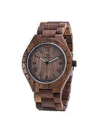 BIOSTON Natural Walnut Wood Mens Size Analog Quartz Casual Wood Watch with Gift Box