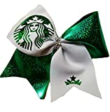 Cheer bows White and green Sparkly Starbucks Holographic Bling Hair Bow