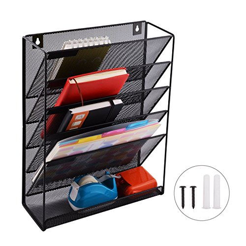 Wall File Organizer; 5 Tier Black Mesh Metal Wall Shelf/Organizer; Includes 6 x Shelf Label Stickers & Wall Screws/Anchors!; Ideal for Home or Office ()