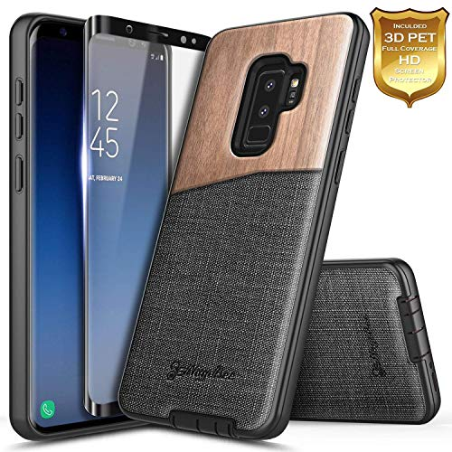 (Galaxy S9+ Plus Case with Screen Protector (Full Coverage 3D PET), NageBee Premium [Natural Wood] Canvas Fabrics Shockproof Hybrid Defender Rugged Durable Case for Samsung Galaxy S9 Plus -Wood)