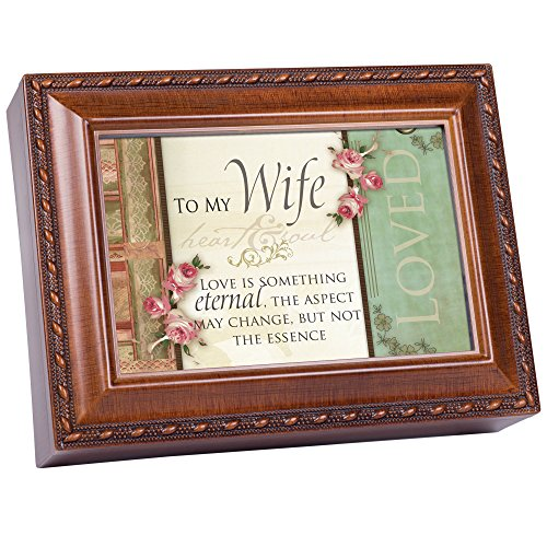 Cottage Garden to My Wife Love Eternal Woodgrain Rope Trim Jewelry Music Box Plays Unchained Melody
