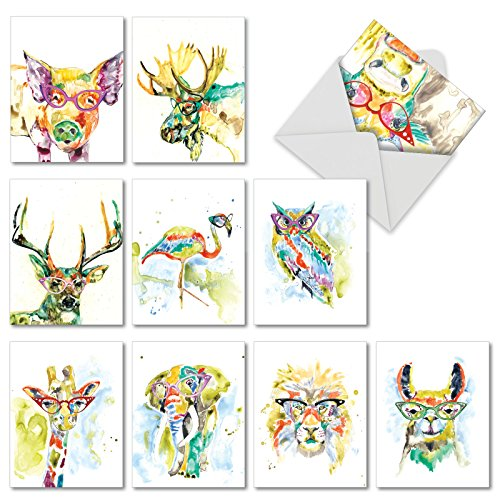 (10 All Occasion 'Rainbow Splash Animals' Watercolor Greeting Cards with Envelopes - Assorted Blank Note Cards w/ Painted Wildlife in Glasses - Boxed Kids Stationery 4 x 5.12 inch AM6137OCB-B1x10)