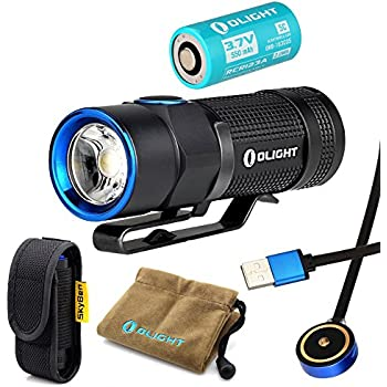 Bundle: Olight S1R Baton Cree XM-L2 LED 900 Lumens Rechargeable EDC Flashlight With 550mAh RCR123A Battery and Skyben Holster (S1R bundle)