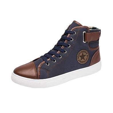 4364e82a991b2 Automne Chaussures pour Homme - Mode Classiques Chaud Hiver Baskets à  Lacets Hommes High Top Cheville