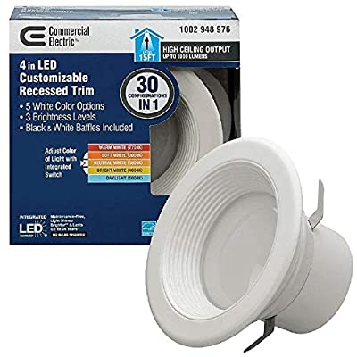 4 in. Lumen and Color Changeable Integrated LED Recessed Downlight Retro Fit Trim