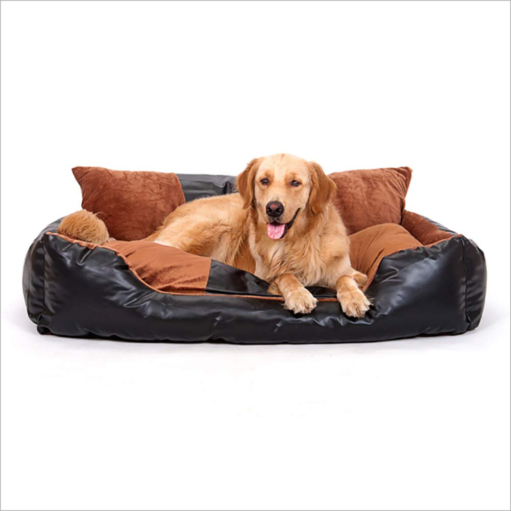 Large Dog Bed Rest Sofa pet Bed Removable wash pu Leather Bed, Large, Brown,L