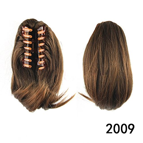 Beauty Wig World 26cm 95g Short Straight Synthetic Hair Piece Claw Clip in/on Ponytail #Chestnut Brown ()