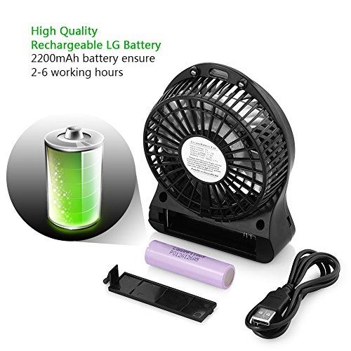 OPOLAR Rechargeable Handheld Mini USB Fan, Desk and Outdoor Fan,with 2200mAh Battery and Side Light-Black (3 Settings, 3.9ft Cable) for Travel, Home and Office-F101B Photo #5