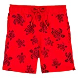 Vilebrequin Tortues Flockées Swim Shorts - Boys - Poppy Red - 6Yrs