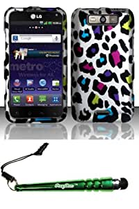 FoxyCase(TM) FREE stylus AND For LG Connect 4G MS840 Viper LS840 (MetroPCS Sprint) Rubberized Design Case Cover Protector - Colorful Leopard Desire Safe Phone cas couverture