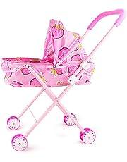 Eternitry Trolley de muñecas Niñas Carrito simulado Cochecito de Fresa Impreso Buggy Lindo Juguetes para niños